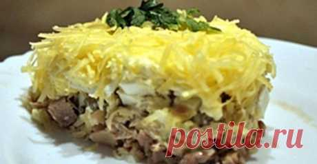 Salad favourite with fish canned food - At us so And here the recipe of very tasty salad from one my acquaintance. 4 boiled eggs, 3 boiled potatoes, 1 bank of canned food fish, little grated cheese, 1 bank of marinated champignons, 200...