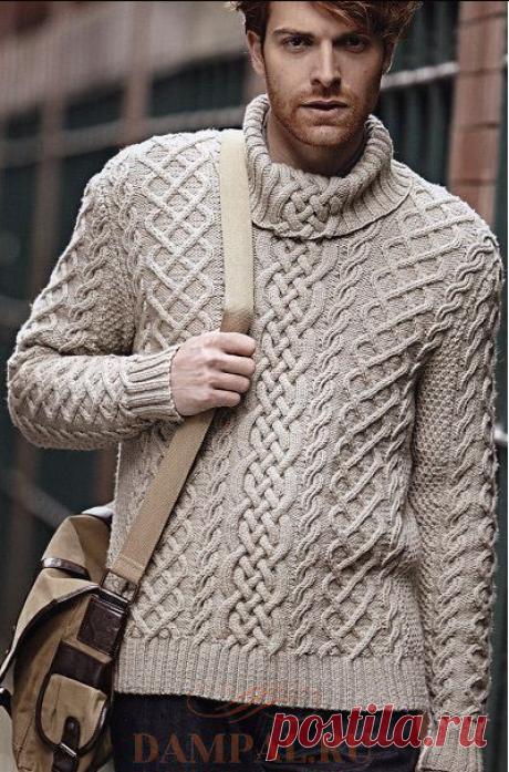 Белый мужской свитер с воротником — HandMade