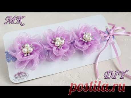 Повязка с цветами из органзы. Organza flowers DIY - YouTube