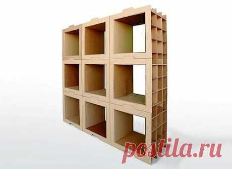 Книжные полки своими руками из картонных коробок