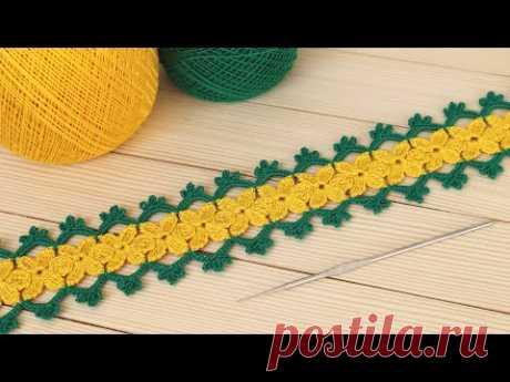 Простое ЛЕНТОЧНОЕ КРУЖЕВО с цветами ВЯЗАНИЕ КРЮЧКОМ мастер-класс How to Crochet Lace with Flowers