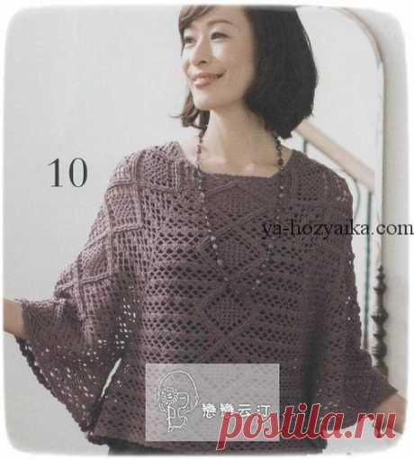 Нарядный пуловер крючком. Пуловер реглан крючком схемы