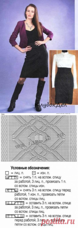 Юбка-карандаш с плетеным узором. Вязание спицами для женщин