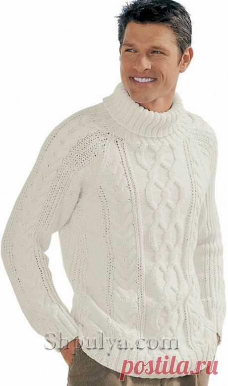 Белый свитер с ирландским узором, вязаный спицами - SHPULYA.com