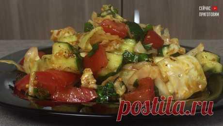 фирменный салат,  - молодая капуста+ свежий огурец+ помидор (все дело в заправке)