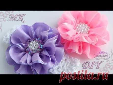✿ Цветы из лент и органзы. Повязка на голову. Канзаши МК/DIY - YouTube
