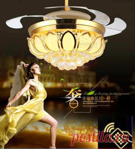 4477.03руб. 25% СКИДКА|42 дюйма золотой лотос современный потолочный вентилятор, хрустальный светильник, Роскошный складной потолочный вентилятор для столовой с вентилятором и пультом дистанционного управления|led ceiling fans|crystal ceiling fans lightingcrystal ceiling fan | АлиЭкспресс Покупай умнее, живи веселее! Aliexpress.com