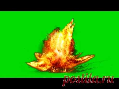 Big Fire Explosion on Green Screen