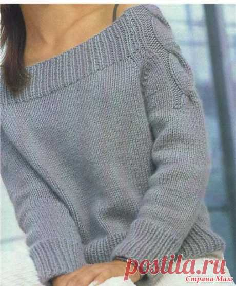 Серый пуловер реглан спицами. Лаконичный реглан спицами | Handmade24