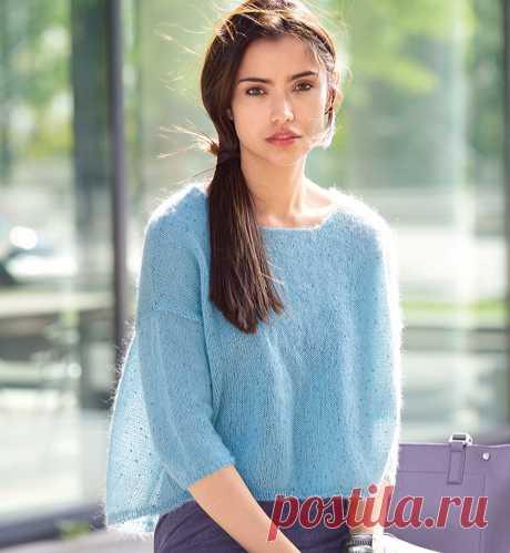 Голубой джемпер свободного кроя - Verena.ru