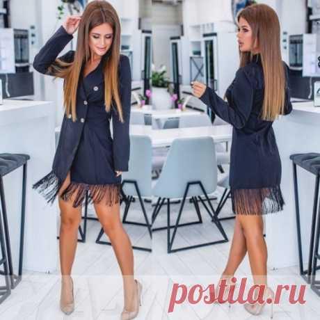 Платье пиджак с бахромой снизу купить недорого с доставкой
