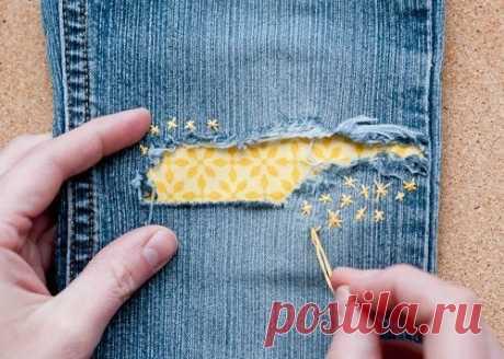 Применяем технику сашико для ремонта джинс.