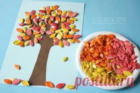 Осеннее дерево с тыквенными семечками. — Поделки с детьми