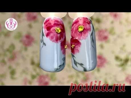Экспресс дизайн ногтей ПИОНЫ гель лаками💜БЛЮСКАЙ без ПОДДЕЛОК💜новая пинейка ПРЕМИУМ