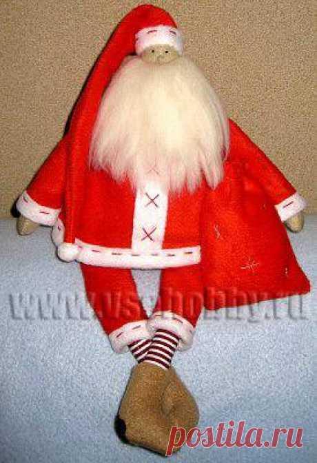 Дед Мороз новогодняя кукла Тильда своими руками мастер-класс с бесплатной выкройкой