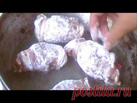 Крученики  -  свиные рулетики с яблоком - YouTube