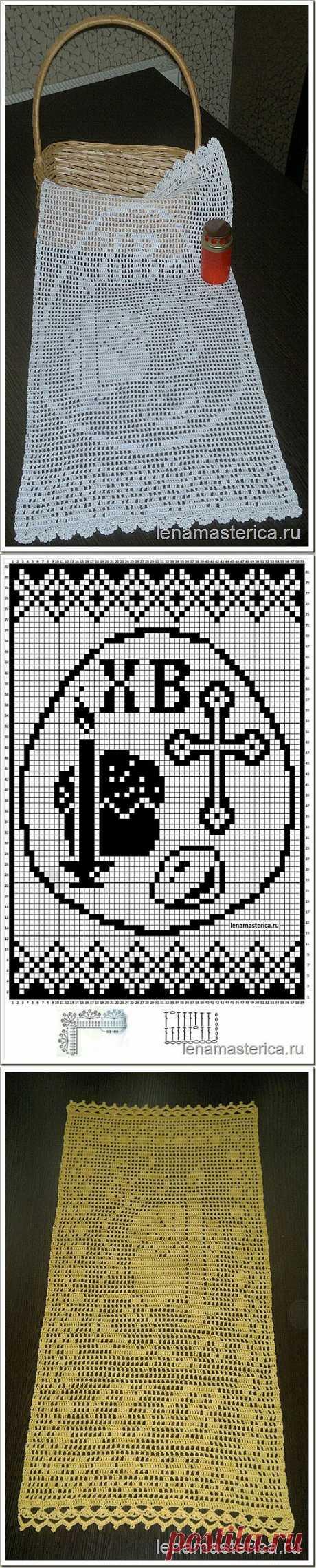 """Пасхальное полотенце-салфетка """"Христос Воскрес"""", схема"""