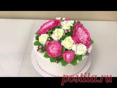 ПИОНЫ из Белкового Крема! Розы из БЗК! Красивый торт!