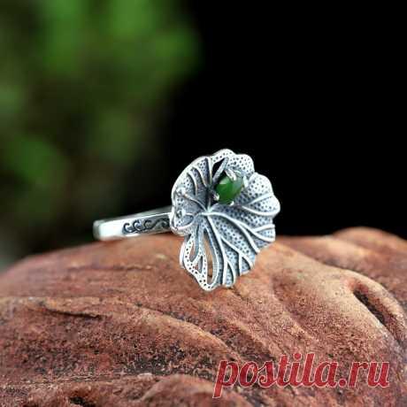 Green Hetian jade Open ring-925 Silver Ring-Drop Ring-Boho | Etsy