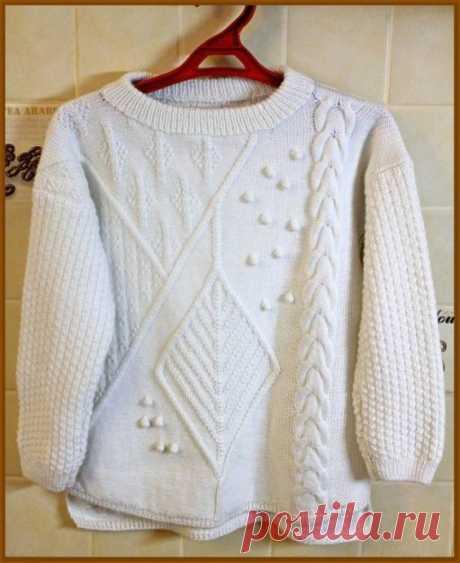 Белый пуловер с асимметрией из категории Мои работы – Вязаные идеи, идеи для вязания
