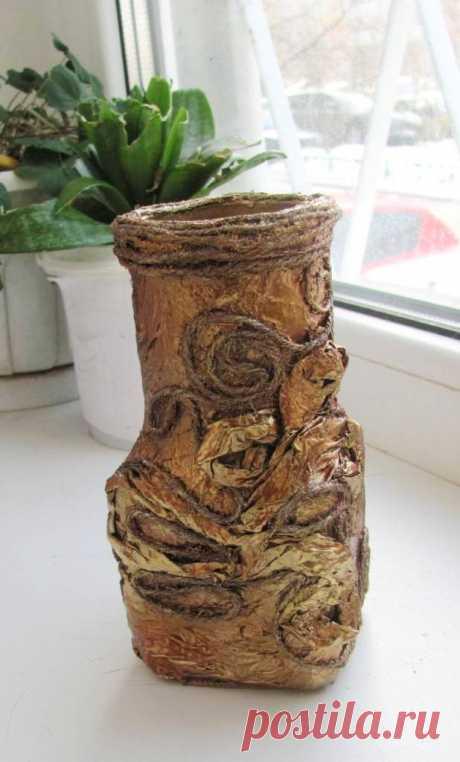 Превращаем обычную стеклянную банку в «бронзовую» вазу — Своими руками
