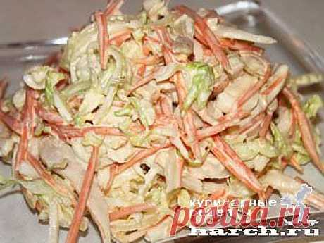 Салат из белокочанной капусты с кальмаром «Владивосток»