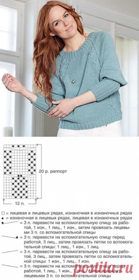 """Вязание спицами и крючком: Пуловер с регланными """"косами"""""""