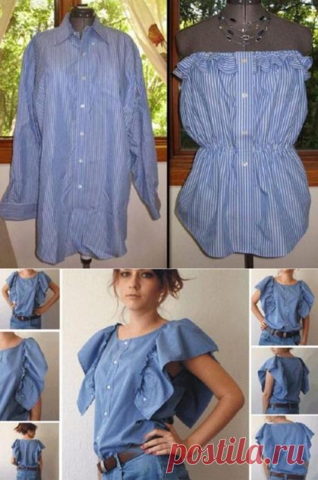 Стильные блузки из старой мужской рубашки