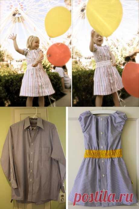 Детское платье из мужской рубахи