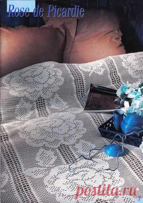 Покрывало филейными розами+СХЕМА. Ажурное покрывало с филейными розами |