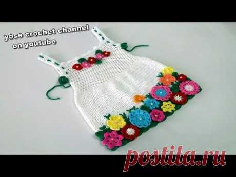 edb8d831ce56 كروشية فستان الورد (الجزء2) سهل للمبتدئين -crochet baby dress#يوسى كروشية#