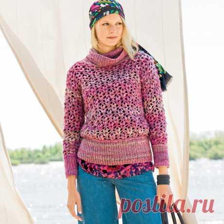 El jersey rosado de mezcla - el esquema de la labor de punto por el gancho. Tejemos Svitery en Verena.ru