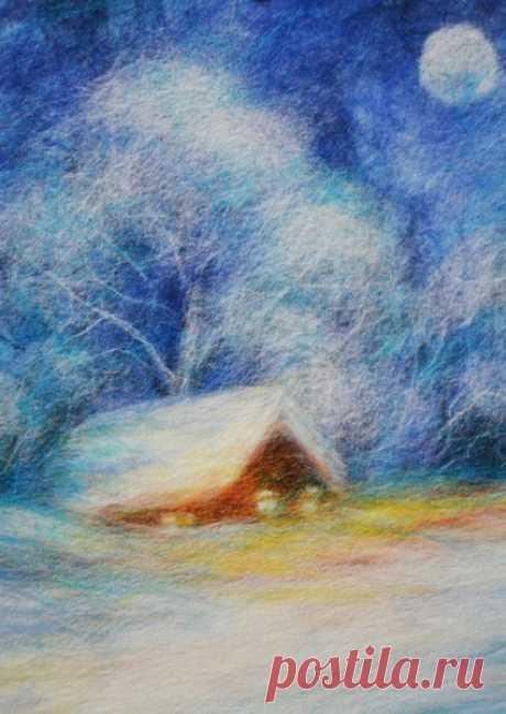 Шерстяная акварель: зимний домик в деревне — DIYIdeas