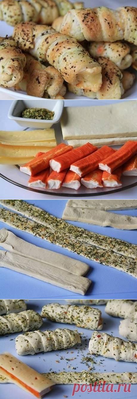 Как приготовить завитушки с крабовыми палочками и сыром - рецепт, ингридиенты и фотографии