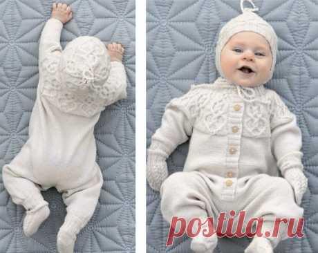 Комплект с узором из кос для новорожденных (Вязание спицами) – Журнал Вдохновение Рукодельницы