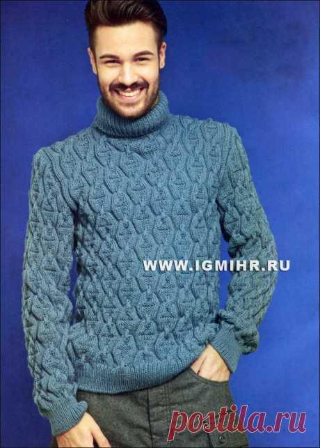 Теплый мужской свитер с красивым узором. Спицы