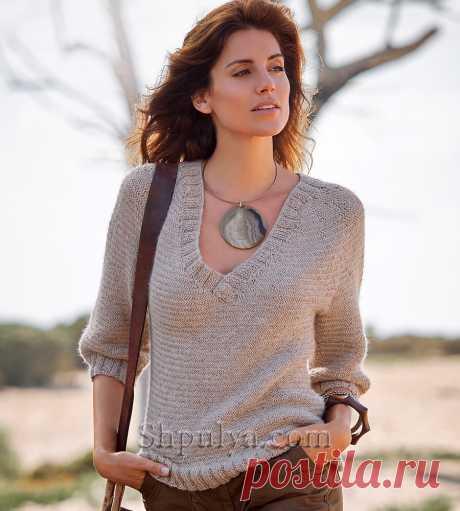 Цельновязанный пуловер из альпаки с v-образным вырезом — Shpulya.com - схемы с описанием для вязания спицами и крючком