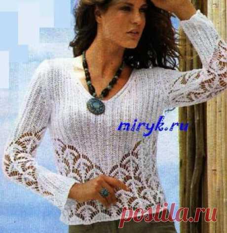 Белая ажурная блузка «Luizet» | Вязание спицами, рукоделие