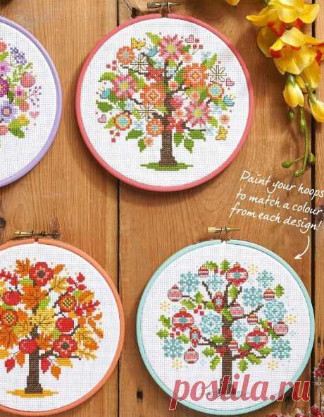 Оригинальная вышивка деревьев — DIYIdeas