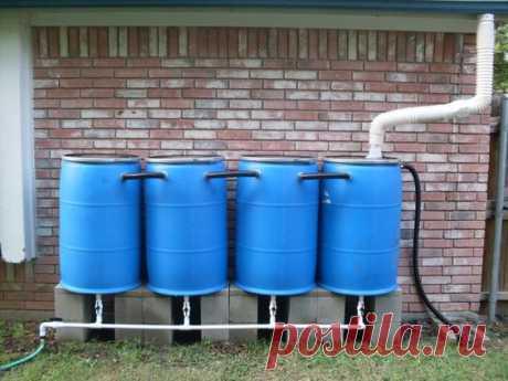 Идеи для сбора ливневой воды из пластиковых бочек и пвх-труб.