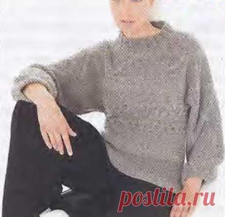 """Пуловер спицами """"поперек"""". Описание вязания модели"""