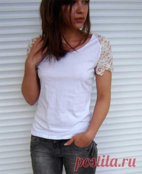 El rehacimiento de la camiseta con el encaje (Diy) \/ las Camisetas DIY \/ la SEGUNDA CALLE