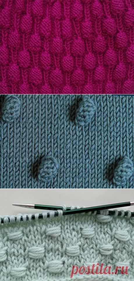 1000 идей для вязания спицами: Три способа связать «шишечки» спицами