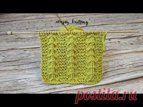 КРАСИВЫЙ Узор спицами с обвитием петель | Gulls and Garter knitting pattern