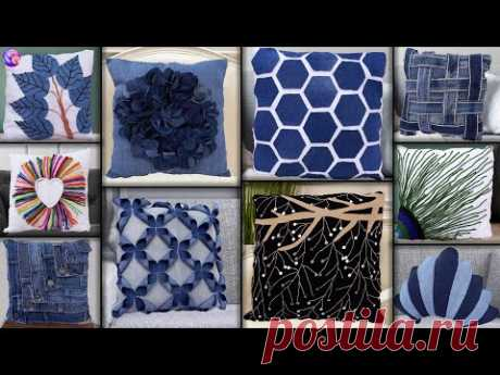 10 Old Clothes Reuse !! Best Out of Waste Cushion Making || Jeans Handmade Things