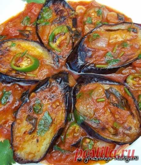 Eggplants with greens and tomatoes in Georgian