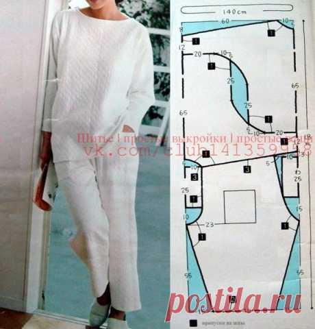 Женская пижама (лонгслив с цельнокроеными рукавами и брюки на резинке), выкройка и экономная раскладка на ткани. #простыевыкройки #простыевещи #шитье #пижама #выкройка