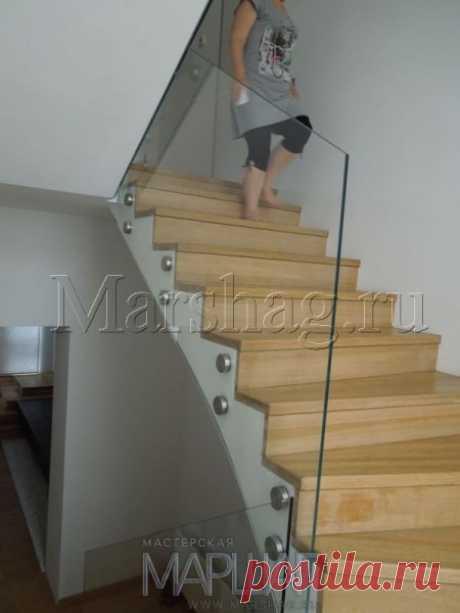 Лестницы, ограждения, перила из стекла, дерева, металла Маршаг – Ограждение из безопасного стекла без поручня