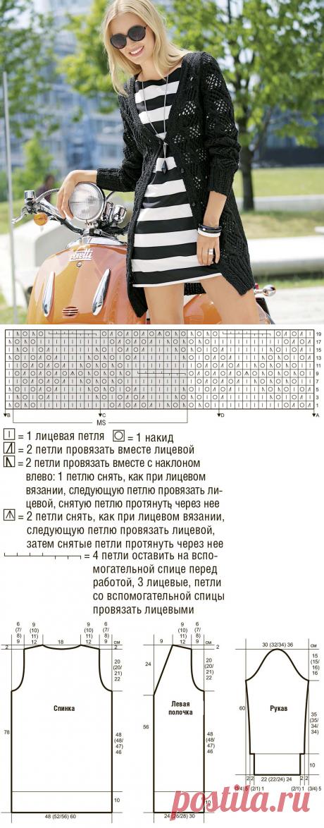 Ажурный кардиган с широкой резинкой - схема вязания спицами. Вяжем Кардиганы на Verena.ru