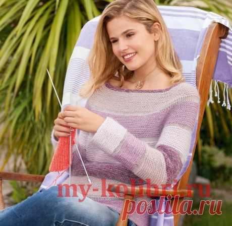 Свитер спицами платочной вязкой с кокеткой реглан - Колибри Свитер выглядит модно и создает хорошее настроение. Эта модель связана сверху вниз из гармонично ско